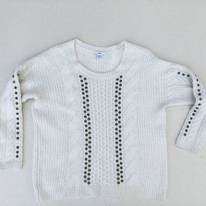 Bar lii Cream Cable Knit Studded Wool Blend Sweater